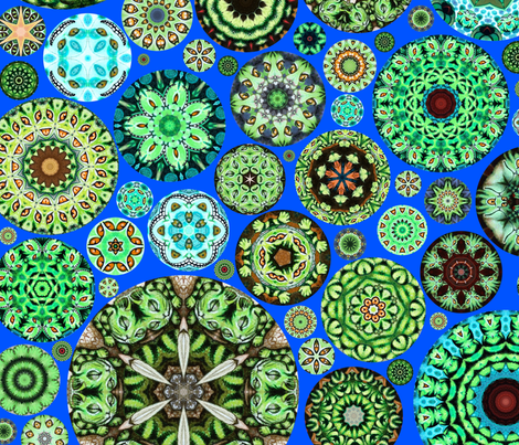 Cheshire Cats Kaleidoscope Circles Bright Blue fabric by amy_kollar_anderson on Spoonflower - custom fabric