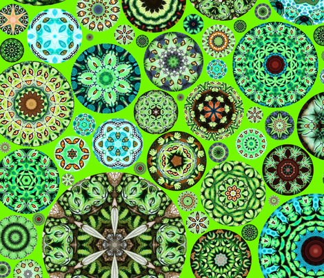Cheshire Cats Kaleidoscope Circles Vibrant Green fabric by amy_kollar_anderson on Spoonflower - custom fabric