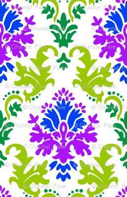 Damask in green, blue, purple