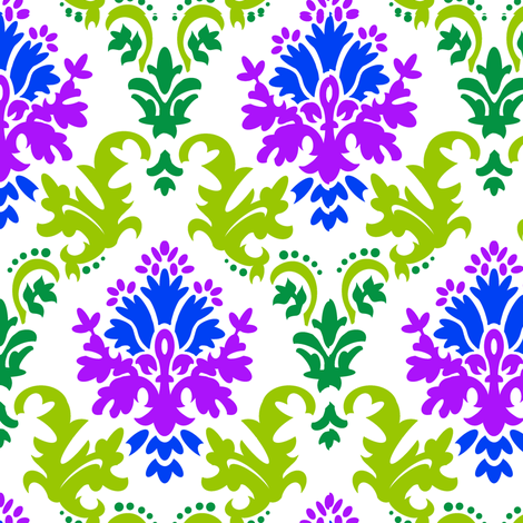 Damask in green, blue, purple fabric by chantal_pare on Spoonflower - custom fabric