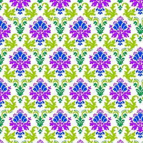 Damask in green, blue, purple