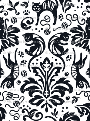 Damask Cats Reverse - BLACK