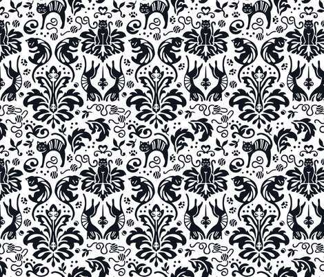 Damask Cats Reverse - BLACK fabric by aliceio on Spoonflower - custom fabric
