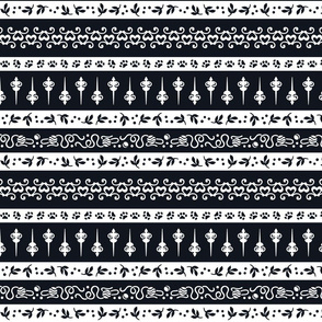 Damask Cats Stripe - BLACK