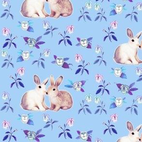 Bunnies in Love Garden, Blue Floral