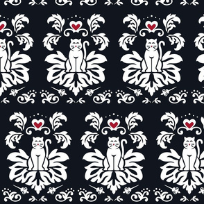 Royal Cats - BLACK w RED Hearts
