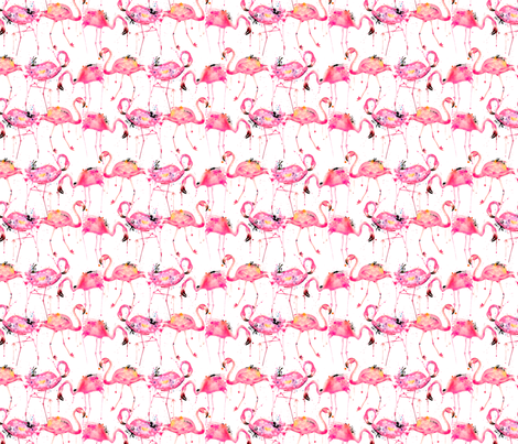 flamingos making a splash smaller fabric by karismithdesigns on Spoonflower - custom fabric