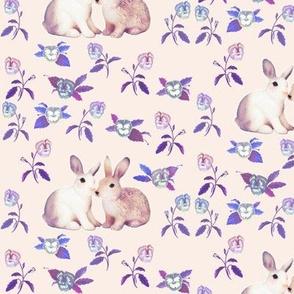 Bunnies in Love Garden, Soft Pink Blue Floral