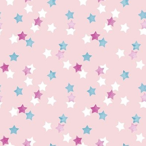 Scattered Stars in Ballerina Pink and Blue Watercolor