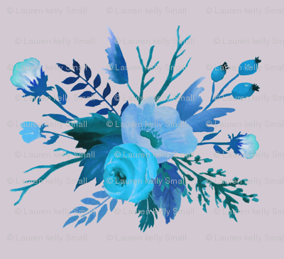 Blue Autumn Floral on Dove Grey