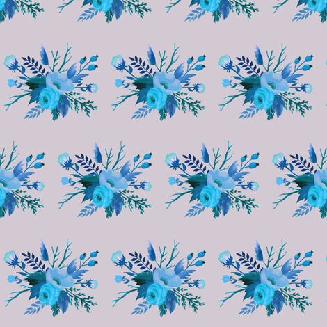 Blue Autumn Floral on Dove Grey fabric by thistleandfox on Spoonflower - custom fabric