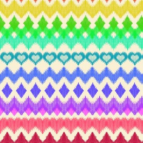 Rainbow Ikat with Hearts on cream