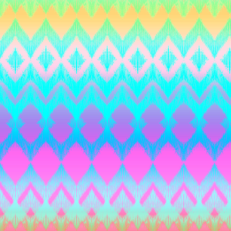 Neon Ombre Ikat and Chevron Stripes fabric by micklyn on Spoonflower - custom fabric