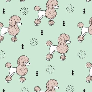 Super cute poodle dog puppy geometric colorful pastel scandinavian style kids mint gender neutral