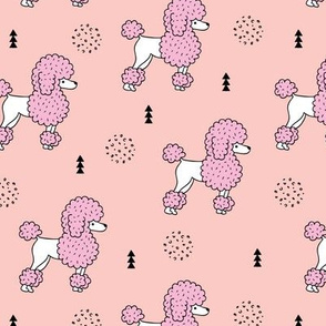 Super cute poodle dog puppy geometric colorful pastel scandinavian style kids pink coral peach