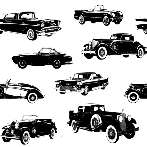 """Vintage Cars  // Large (4"""") fabric by thinlinetextiles on Spoonflower - custom fabric"""