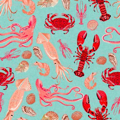 crustaceans // mint lobster crabs squid octopus prawns crawfish crayfish ocean sea nautical