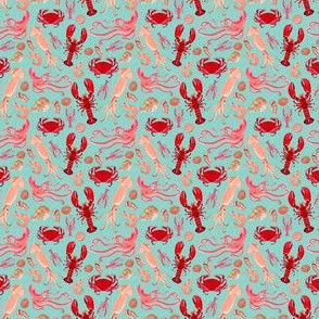 crustaceans // mint lobster crabs squid octopus prawns crawfish crayfish ocean sea nautical