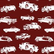 """Vintage Cars on Maroon // Small (2.5"""")"""