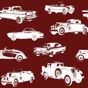 """Vintage Cars on Maroon // Large (4"""")"""