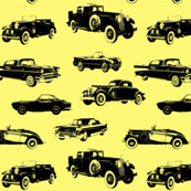 "Vintage Cars on Yellow - Small (2.5"")"