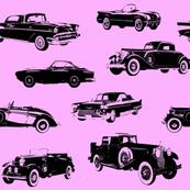 "Vintage Cars on Pink // Large (4"")"