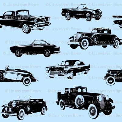 """Vintage Cars on Light Blue // Small (2.5"""")"""