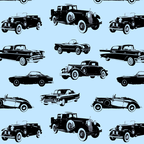 """Vintage Cars on Light Blue // Small (2.5"""") fabric by thinlinetextiles on Spoonflower - custom fabric"""
