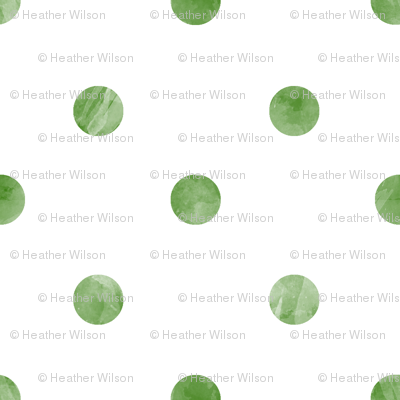 Watercolor Polka Dots in Green