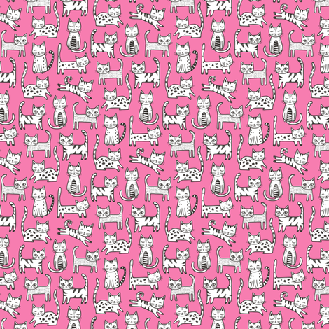 Cats Black&White with Stripes Dark Pink Tiny Small fabric by caja_design on Spoonflower - custom fabric