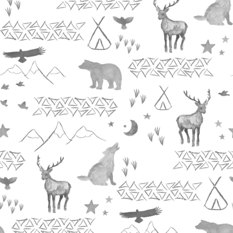 Watercolor Woodland half scale fabric by mrshervi on Spoonflower - custom fabric