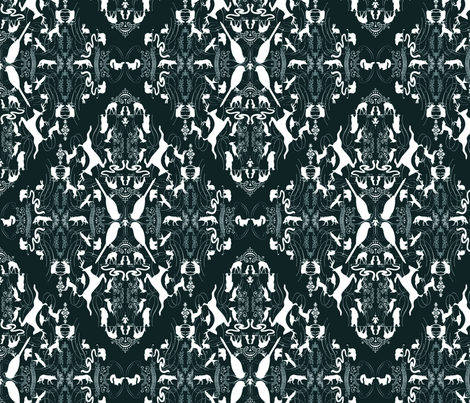 Woodland Animals Damask fabric by linda_facci on Spoonflower - custom fabric