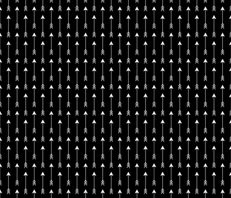 Vertical Arrows Black on White Solid fabric by sierra_gallagher on Spoonflower - custom fabric