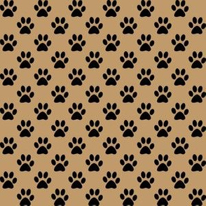 Half Inch Black Paw Prints on Camel Brown