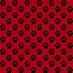 Half Inch Black Paw Prints on Dark Red