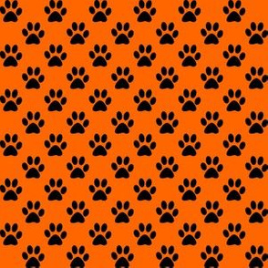Half Inch Black Paw Prints on Orange