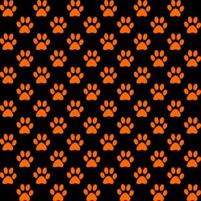 Half Inch Orange Paw Prints on Black