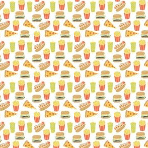 junk food // tiny food print hot dogs burgers fries novelty food print