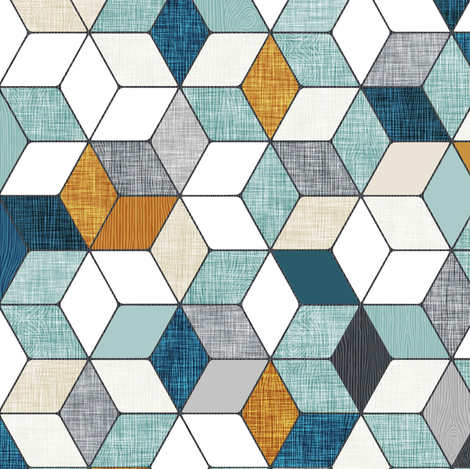 Hexo (blue) fabric by nouveau_bohemian on Spoonflower - custom fabric
