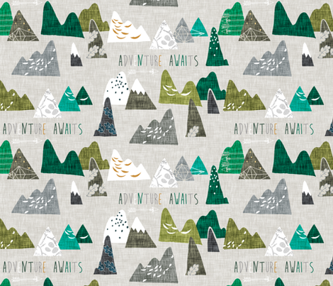 Adventure Awaits (Green) REGULAR  fabric by nouveau_bohemian on Spoonflower - custom fabric