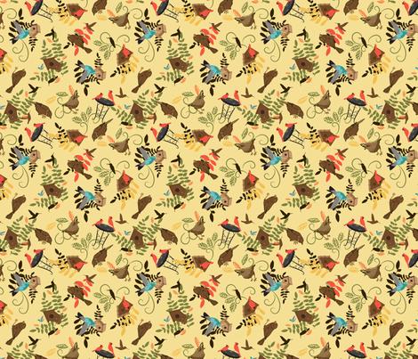 Kathleens birds on pale yellow fabric by larageorgine on Spoonflower - custom fabric