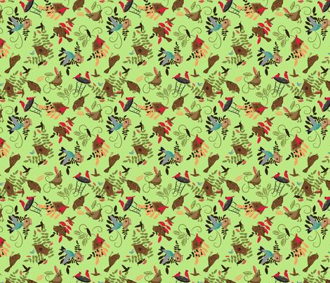 Kathleens birds on pale lime fabric by larageorgine on Spoonflower - custom fabric