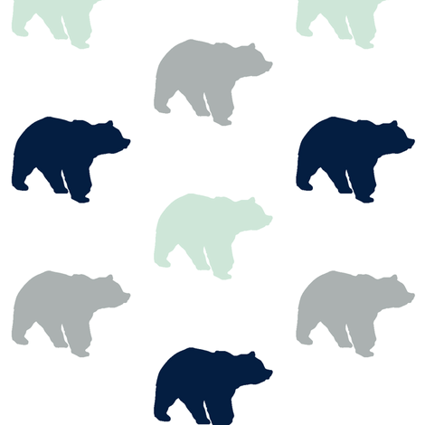 Multi Bear // Northern Lights fabric by littlearrowdesign on Spoonflower - custom fabric