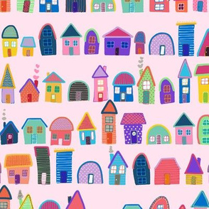Neighbors on Pink (Illustrated Houses)
