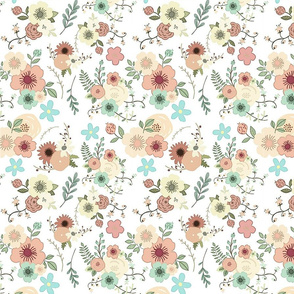 Vintage Style Floral - white