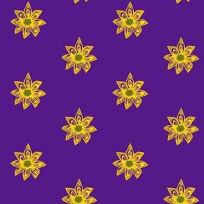 Golden Star Flowers on Purple - Small Scale