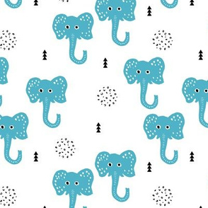 Cool blue elephants cute geometric scandinavian style animals for kids