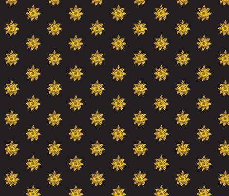 Golden Star Flowers on a Bed of Deep Blac fabric by rhondadesigns on Spoonflower - custom fabric