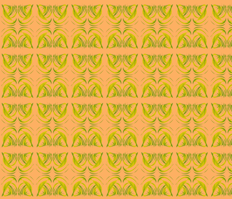 Turning Turtle With Tropical Leaves on Persimmon - Small Scale fabric by rhondadesigns on Spoonflower - custom fabric