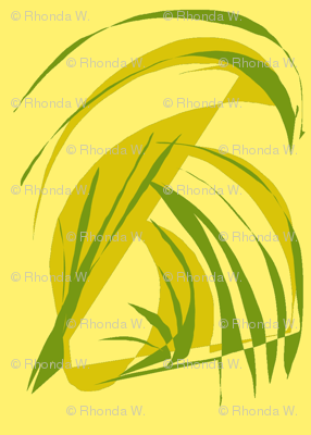 Turning Turtle With Tropical Leaves on Sunny Yellow